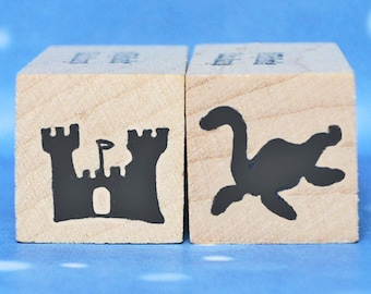Nessie and Castle Mini Stamp Set of 2 Loch Ness Monster Scottish Icon New in Shop