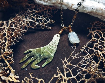 Mystic gypsy hand with moonstone