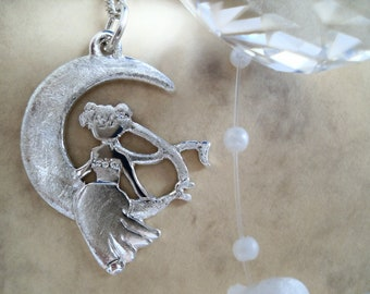 Princess Mexican Church, pendant 925 sterling silver, crescent moon