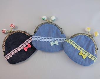 Denim coin purse, Frame coin purse, Kiss lock coin purse, Yellow, Blue, Red Pink
