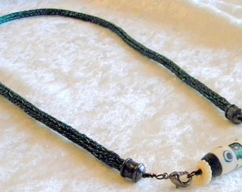 Dark Green Wire Viking Knit & Artist Tube Lampwork Bead Necklace, Ivory color, Black