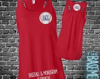 monogram baseball tank sparkly - flowy bella tank - monogram front and back baseball shirt