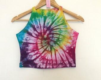 Multicoloured Swirl Tie Dye Fitted Crop Top - Festival Wear