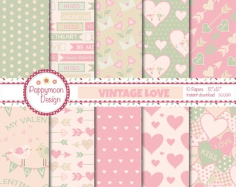 Vintage love,valentines, commercial and personal use, digital paper pack