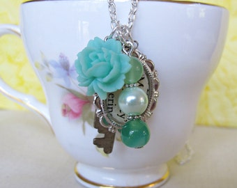 Jane Austen Charm Necklace Pride and Prejudice Mr Darcy- Ombre Green Glass Pearls Beaded Skeleton Key Vintage Upcycled Brass Literature Boho