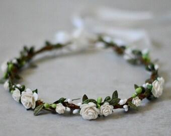 Ivory flower crown, flower crown, boho wedding, floral halo, floral crown,baby flower crown,bridal crown, maternity crown, flower girl crown