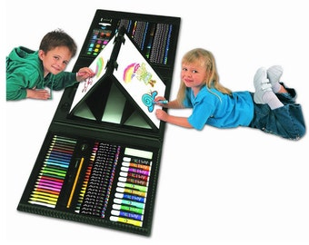 Kids 179 Piece Double Sided Trifold Easel Art Set, Traveling Or Indoor Art Easel Set To Inspire Kids Creativity, Paints With Carrying Case