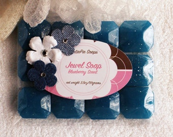Jewel Soap, Glycerin Soap Set, Melt and Pour Soap, Guest Soap, Novelty Soap, Gift Soap, Blue Bath Decor, Blueberry Scented, Palm Free Soap