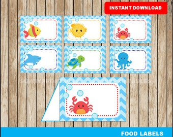 Under The Sea food labels; printable Under The Sea tent cards, Under The Sea party food tent cards instant download