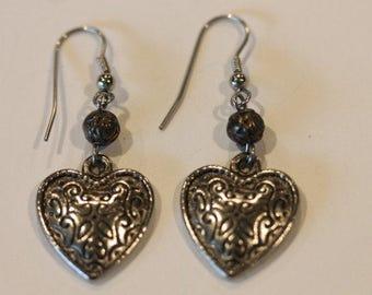 """Silver tone dangle scroll heart earrings hooks 1 7/8"""""""
