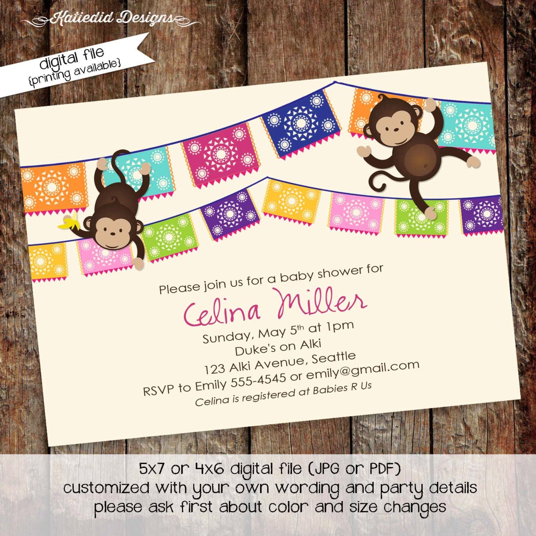 jungle monkey safari invitation Fiesta baby shower invitation ...