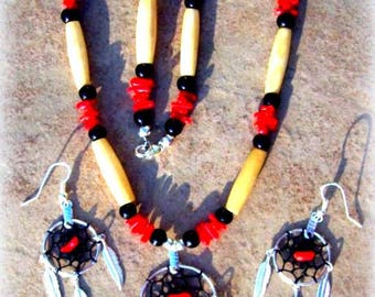 DREAMCATCHER necklace, earring set, Native made dream catcher jewelry, Native American, tribal, Boho, red coral, Elk bone, black and red