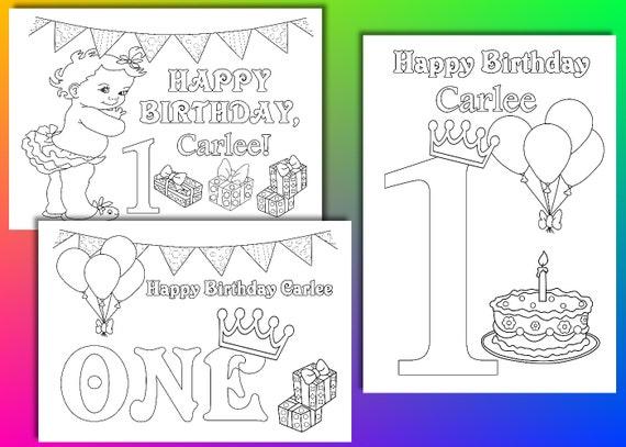 Primera chica de cumpleaños para colorear páginas primer