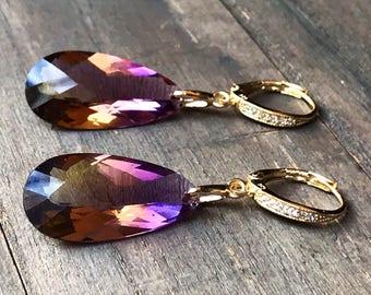 Ametrine Earrings. Purple Yellow Ametrine.  Pave earrings. Gold Earrings. Bolivian Ametrine stones. Statement jewelry. February birthstone