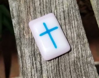 Comfort Pocket Cross Fused Glass - Worry Stone - Charm - Christian Gift - Pink and Turquoise