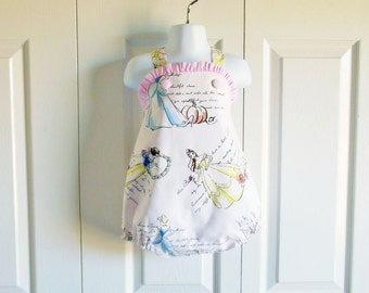 "Girls ""Jill"" Bubble Romper Sunsuit in Fashionable Princess fabric - Disney princess pink blue gingham - sizes 3 mos to 3T"