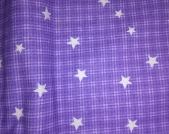 Purple Flannel With Stars Fabric