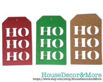 Set of 15 Christmas Tags/Holiday Gift Tags/Ho Ho Ho Hanging Tags