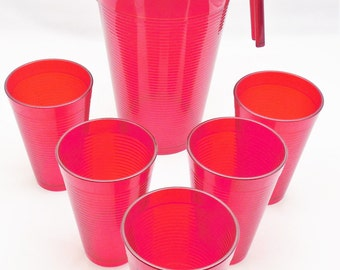 """Red Plastic Pitcher with Tumblers 8 1/2"""" Pitcher with 5-5"""" Tumblers, Made in Italy Drinkware by Everyday, Imported Italian Plastic Drinkware"""