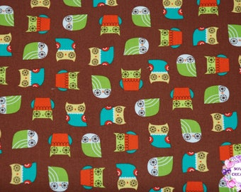 Robert Kaufman Suzy's Minis Owl- Earth/Cotton/Fabric/Sewing/Quilting