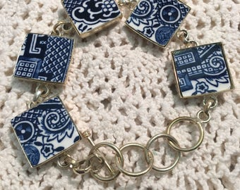 Broken China Bracelet Blue Willow Silver Plated