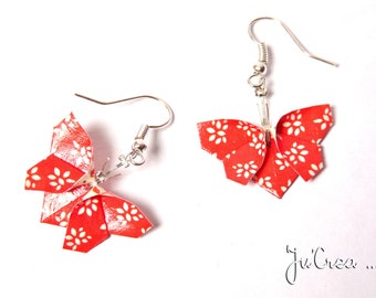 Origami butterflies earrings Red