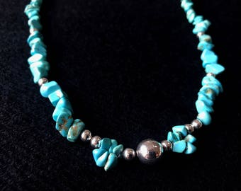 Natural Turquoise & Sterling Silver Necklace