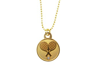 Crossed Tennis Racquet Pendant Necklace- Silver or Gold