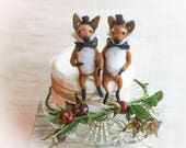 Same sex wedding cake topper, gay cake topper, fox wedding topper,  LGBTQ+ wedding, needle felted foxes, two grooms, gay Valentine.Free ship