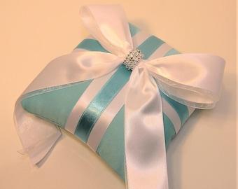 Wedding Ring Bearer Pillow Blue and White Pillow-Custom order.