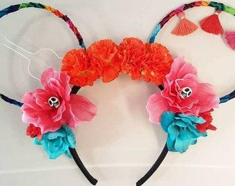 Coco Mickey Ears, Viva La Coco, Light weight, Coco Inspired, Coco, Wire ears, Coco Ears, Mickey Ears, Disney, Diy, Fabric Ears, Fabric