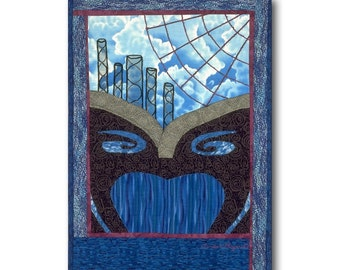 Abstract Quilt Art Wall Hanging Surrealist Dream Clouds Web Blue Black One of a KInd