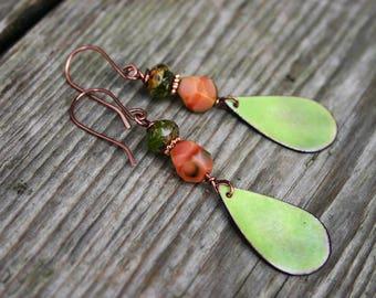 Pea Green Enameled Copper Teardrop Earrings, Pea Green and Salmon Pink Glass Earrings, Green Glass Enameled Earrings