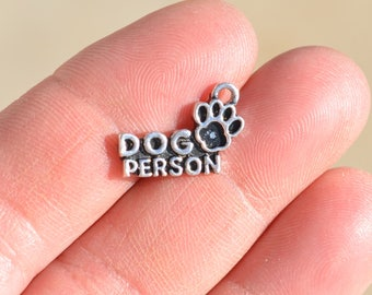 BULK 20 Silver DOG PERSON Charms SC1861