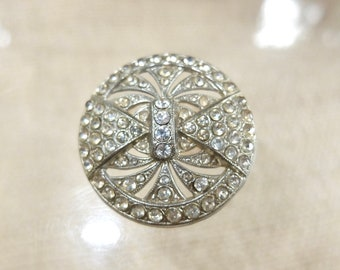 Large Rhinestone Art Deco Buttons (3)