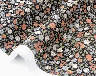 Black x 50cm silky cotton lawn fabric