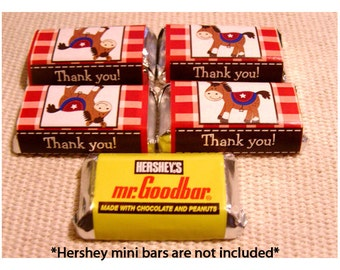Round Em Up Western Horse Candy Wrapper Stickers, Personalized Hershey Miniature Stickers, Western Cowboy Theme