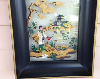 Oriental Framed Illuminated Picture - Reverse Painting on Glass