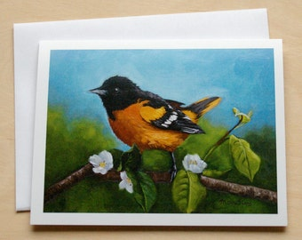 Oriole - Baltimore Oriole - bird notecard - oriole card - bird stationary - paper goods - thank you notes