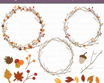 Fall Foliage Digital Art Set Clipart Commercial Use Clip Art INSTANT DOWNLOAD Fall Clipart Autumn Clipart Autumn Wreaths