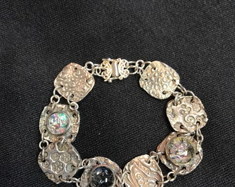 PMC Precious Metal Clay Dichroic Glass Beads Fine Silver Linked Bracelet