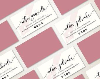 Pink Business Card, Writer Business Card Design, Modern Business Card, Calling Card, Premade Business Card, Printable DIY