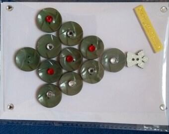 Button Christmas tree card, Tree,Button,Green,Christmas