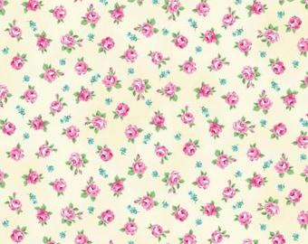 RURU  Ruru Bouquet Tea Party  Cotton Fabric Quilt Gate RU2270-16A Small Roses on Cream