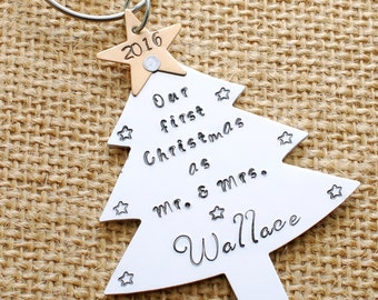 Our First Christmas Ornament - Couple's First Christmas Ornament - Hand Stamped Tree Ornament - Personalized First Christmas Ornament