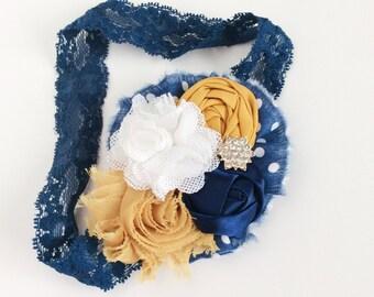 Navy mustard headband baby girl headband toddler headband girl headband persnickety m2m headband matilda jane headband shabby chic headband