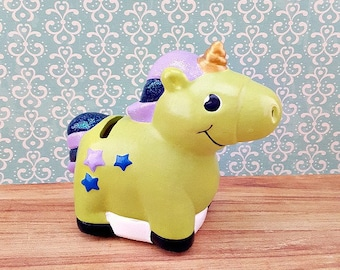 Little Green Unicorn Piggy Bank, Unicorn Piggy Bank, Piggy Bank, Bank, Baby Bank, Piggy Bank for Kids, Baby Shower Gift, Unicorn, Baby Gift