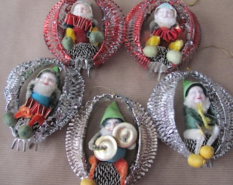 Vintage Pine Cone Elves, 1960's Pine Cone Elf Ornaments, Foil Cage Ornaments, 1960's Christmas Elf, Christmas Decor, Mid Century