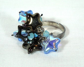 Starburst Cluster Ring - Haematite/Swarovski Elements