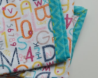 Hand Stitched Swaddle Blanket, Flannel Baby Blanket,Alphabet,Numbers, Receiving Blanket, Baby Accessories, Baby Shower Gift, Gender Neutral